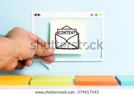 Email content marketing. Producing creative content. Hand showing illustration of letter with the word content.