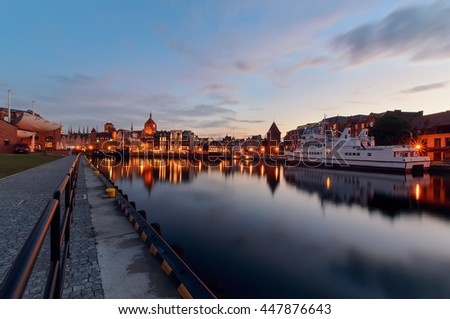 Embankment of Gdansk at sunset, Poland, Europe.