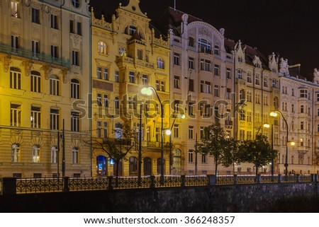 embankment of the Vltava river in evening, Prague
