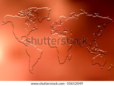 Embossed World Map On Copper Plate Background