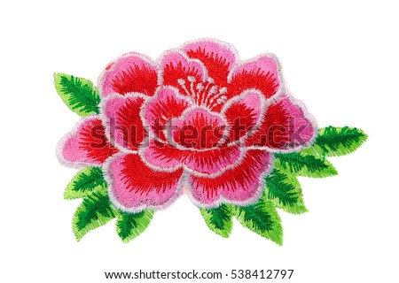 Embroidery, flower, isolate on a white background