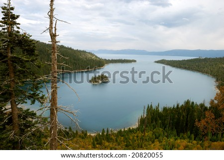 Emerald Bay on lake Tahoe on a cloudy day