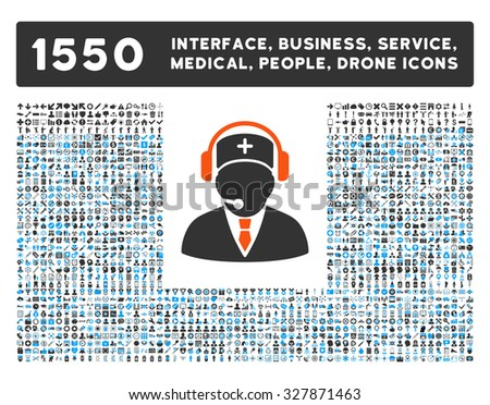 Emergency Operator and other web interface, business tools, people poses, medical service glyph icons. Style is flat symbols, bicolored, rounded angles, white background.