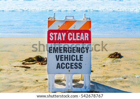 Emergency vehicle access sign in Pacific Beach, California