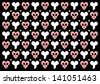 Emo gothic valentine wrapper with heart shaped skulls and bones - stock vector