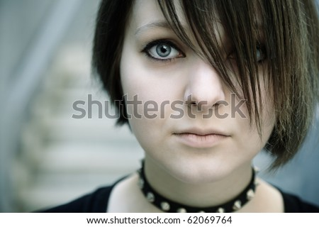 emo or goth young woman