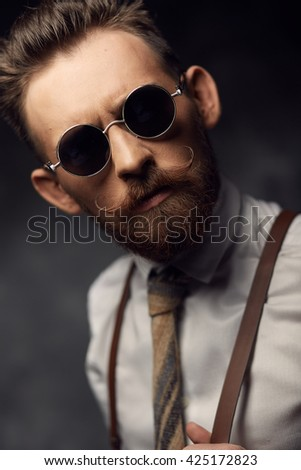 Emotional man with mustaches and beard