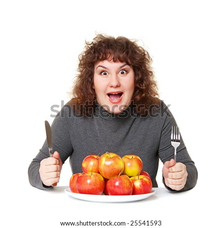 emotional woman with apples against white background