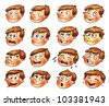 Emotions. Cartoon facial expressions set. ( natural, calm, resentful, playful, frightened, sad, satisfied, ailing, thoughtful,  jolly, crying, angry, funny, enamored, astonished, laughing ) Hand-drawn - stock vector