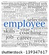 Employee and recruitment concept in word tag cloud on white - stock vector