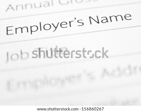 EMPLOYER'S NAME printed on a form close up