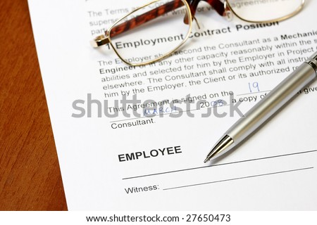 Employment contract form ready to sign