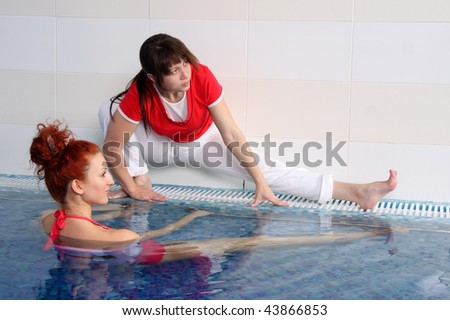 Employment with the pregnant woman in pool