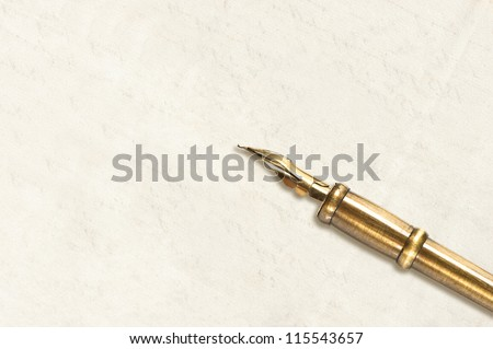 empty blank paper page with antique ink pen. vintage background
