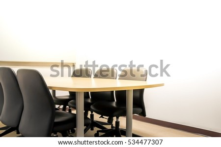 empty boardroom for meeting in flare light warm tone and white space for fill text.