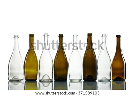 Empty bottles isolated over the white background