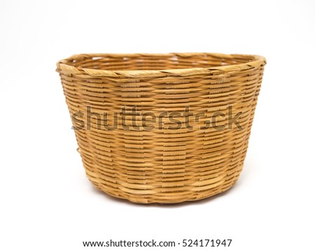 Empty brown wicker woven basket isolated on white background