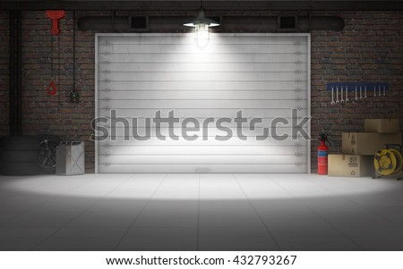 Empty car repair garage background. 3d rendering
