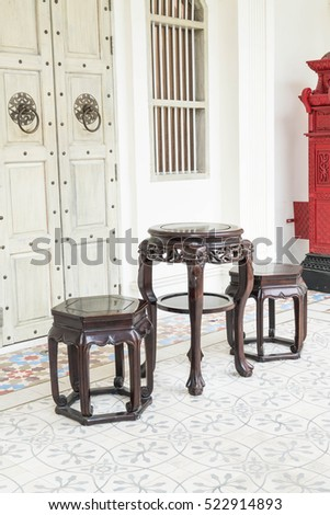 empty chair chinese style interior decoration in the room