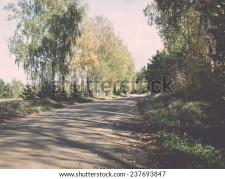 empty country road with perspective - retro, vintage style look