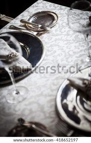 Empty dinner table in a luxury restaurant