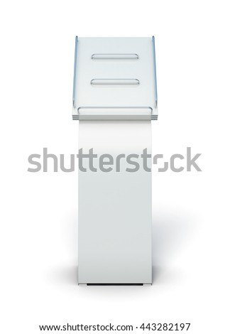 Empty display for catalogs or magazines isolated on white background. Promotional products. For booklets and postcards. 3d rendering
