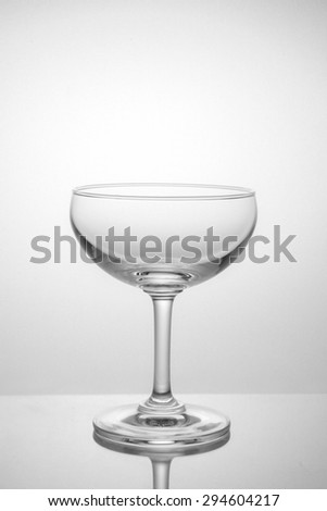 Empty glass on a white background in soft light