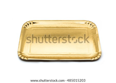 Empty golden paper food tray with shadows on a white studio background