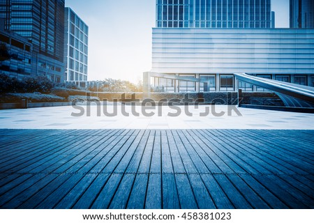 empty ground and office building