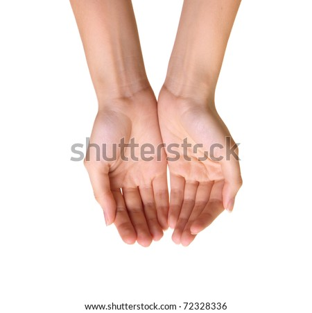 Empty hands isolated on white background
