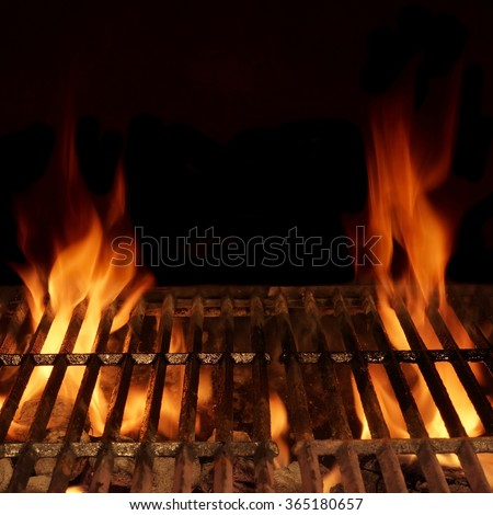 Empty Barbecue Flaming Charcoal Grill Bright Stock Photo