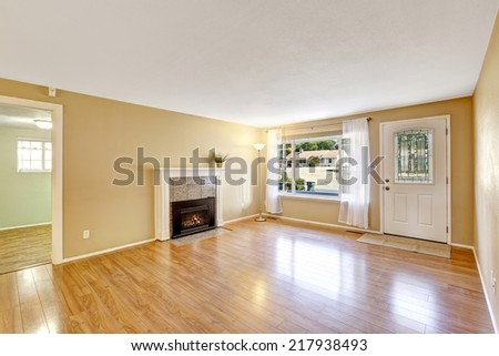 Empty house interior with cozy fireplace. New hardwood floor and light tones walls.