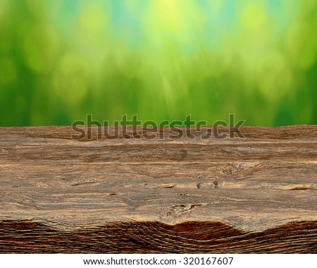 Empty Log Table With Green Background
