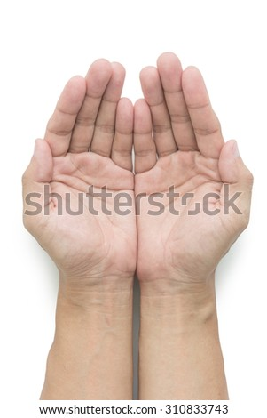 empty man hands is opening on white background