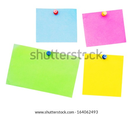empty notes isolated on white background