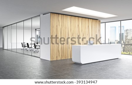 Stupendous Front View Blank White Wall Office Stock Illustration 420448270 Largest Home Design Picture Inspirations Pitcheantrous