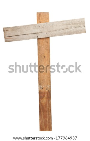 Empty old wooden planks sign isolated on white background