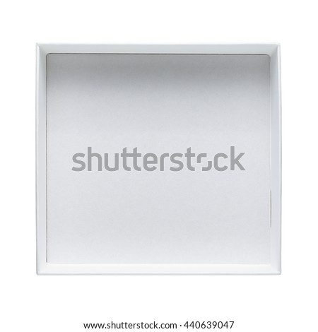 Empty open box isolated on white background top view