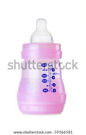 Empty pink 160 ml / 5.5 oz baby bottle isolated on white background