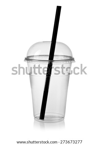 Empty plastic smoothie cup with a straw
