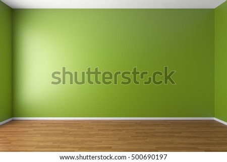 Empty room with green walls, brown hardwood parquet floor and soft skylight from window, simple minimalist interior architecture background with copy-space, 3d illustration