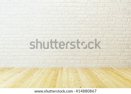 empty room with white brick wall and wooden floor, 3d rendering