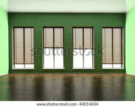 Empty room with windows and a parquet floor