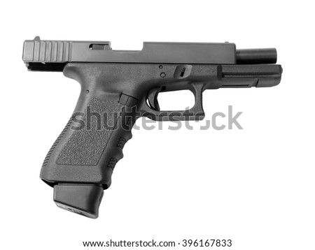 Empty semi-automatic handgun with high capacity magazine isolated on white background.