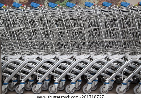 empty shopping carts in the big supermarket
