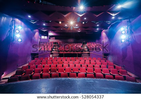 empty theater with dramatic lighting