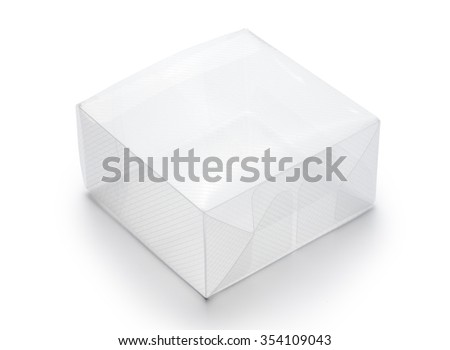 Empty transparent plastic box on white background