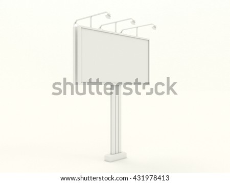 Empty white billboard mock up with blank for branding design and advertising. Advertising construction with lamps spotlights. Isolated on white background. High resolution 3d illustration.