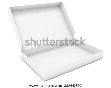 Empty white box. Side view. 3D render illustration isolated on white background