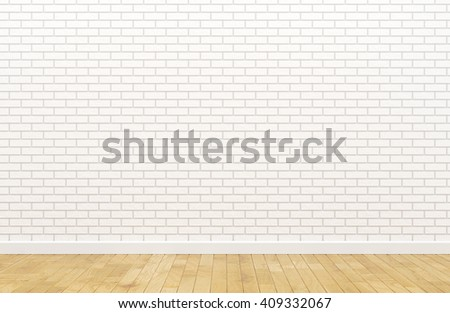 Empty white brick wall (3d Render image)